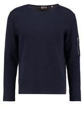 Knowledge Cotton Apparel Long Sleeved Top Total Eclipse Dark Blue