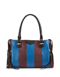 Aimee Kestenberg Striped Pebble Leather Satchel Nautical Blue