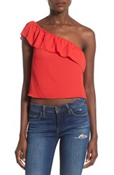 Leith Women's One Shoulder Crop Tank Red Pepper