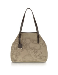 Alviero Martini Geo Printed Large 'New Basic' Shoulder Bag Taupe