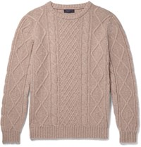 Thom Sweeney Cabe Knit Cashmere Sweater Beige