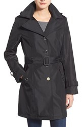 Calvin Klein Petite Women's Single Breasted Belted Trench Coat Black
