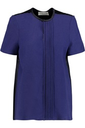 Pringle Pintucked Stretch Crepe And Silk Satin Top Blue