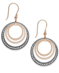 Genevieve And Grace Marcasite Multi Circle Hoop Earrings In 18K Rose Gold