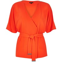 River Island Womens Orange Wrap Kimono Top