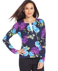 Charter Club Petite Long Sleeve Bloom Floral Cardigan Intrepid Blue