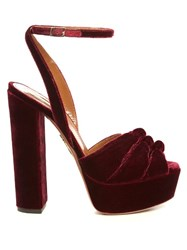 Aquazzura Mira Knot Velvet Platform Sandals Dark Red