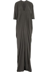 Rick Owens Draped Cotton Jersey Maxi Dress Dark Gray