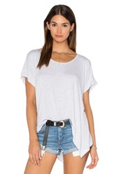 Heather Boxy Swing Hem Tee Light Gray