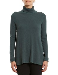 Three Dots Relaxed Turtleneck Sweater Green