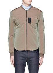 Acne Studios 'Silas' Faux Leather Patch Bomber Jacket Green