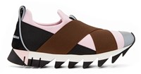 Dolce And Gabbana Black And Pink Straps Slip On Sneakers