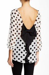 Pink Owl Polka Dot Back Bow Chiffon Blouse White