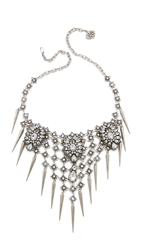 Laura Cantu Spikes Net Necklace Silver Multi