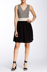 Trixxi Stripe Crochet Skater Dress Juniors Black