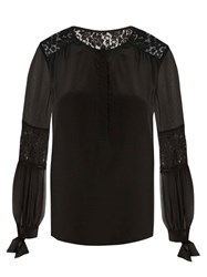 Rebecca Taylor Sarah Lace Panel Silk Blouse Black