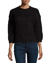 Chelsea And Theodore 3 4 Sleeve High Low Sweater Black