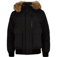River Island Mens Black Schott Faux Fur Hooded Jacket