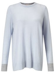 Modern Rarity Merino Wool Crew Neck Jumper Grey Blue