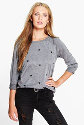 Boohoo Star Embroidered Slash Neck Sweat Charcoal
