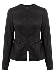 Oasis Faux Leather Collarless Jacket Black