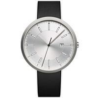 Uniform Wares M40 Calendar Wristwatch Brushed Steel And Black Leather