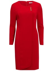 Gina Bacconi Stretch Moss Crepe Dress With Gold Trim Red