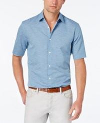 Alfani Red Men's Big And Tall Slim Fit Striped Short Sleeve Shirt Only At Macy's Neo Navy