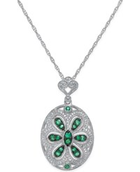 Macy's Emerald 3 8 Ct. T.W. And Diamond 1 4 Ct. T.W. Floral Disc Pendant Necklace In Sterling Silver