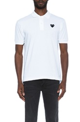 Comme Des Garcons Play Cotton Polo With Black Emblem In White