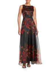 Tahari By Arthur S. Levine Printed A Line Gown