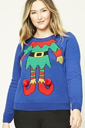 Forever 21 Plus Holiday Elf Sweater Blue Multi