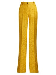 Roberto Cavalli High Rise Wool And Silk Blend Wide Leg Trousers Yellow