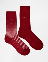 Levi's Regular Cut Stripe Socks In 2 Pack Red