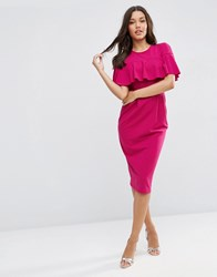 Asos Wiggle Dress With Frill Sleeve Detail Plum Red