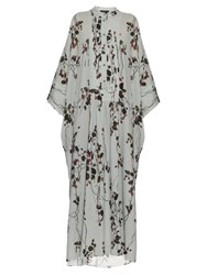 Giles Strawberry Print Crepe Kaftan Dress Light Blue
