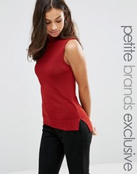 Glamorous Petite Sleeveless High Neck Knitted Top Red