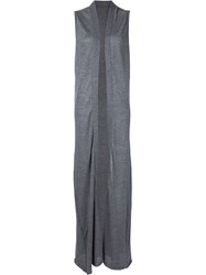 The Elder Statesman Long Sleeveless Cardigan Grey
