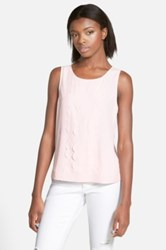 Frenchi Scallop Trim Tank Juniors Pink