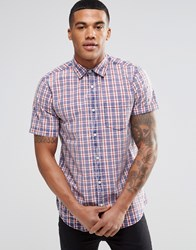 New Look Short Sleeve Shirt In Acid Wash Check In Regular Fit Blue