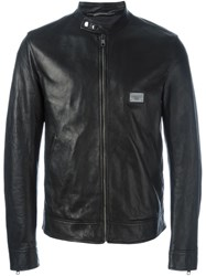 Dolce And Gabbana Zipped Leather Jacket Black