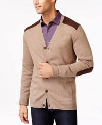 Tasso Elba V Neck Faux Suede Patch Cardigan Only At Macy's Mocha