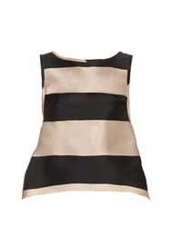 Rochas Bi Colour Striped Duchess Satin Top Black Stripe