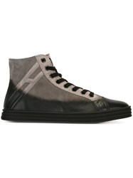 Hogan Rebel Panelled Hi Top Sneakers Grey