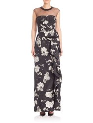 Rickie Freeman For Teri Jon Floral Printed Gown Black White