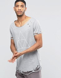 Asos Super Longline T Shirt With Triangle Print And Heavy Distressed Hem And Sleeve Grey Marl