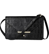 Lk Bennett Ada Croc Embossed Leather Shoulder Bag Bla Black