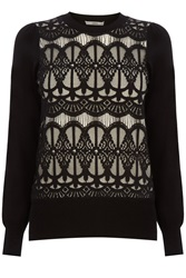 Oasis Gothic Lace Front Top Black White