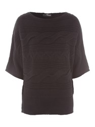 Jane Norman Batwing Cable Jumper Black