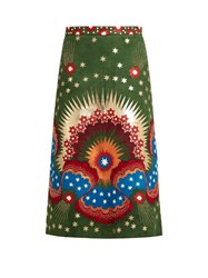 Valentino Enchanted Wonderland Leather And Suede Midi Skirt Green Multi